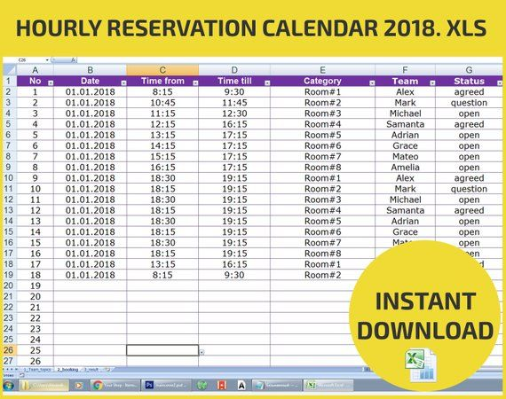 Appointment Scheduling And Hourly Reservation Booking Calendar Etsy Appointment Calendar Excel Calendar Calendar 2020