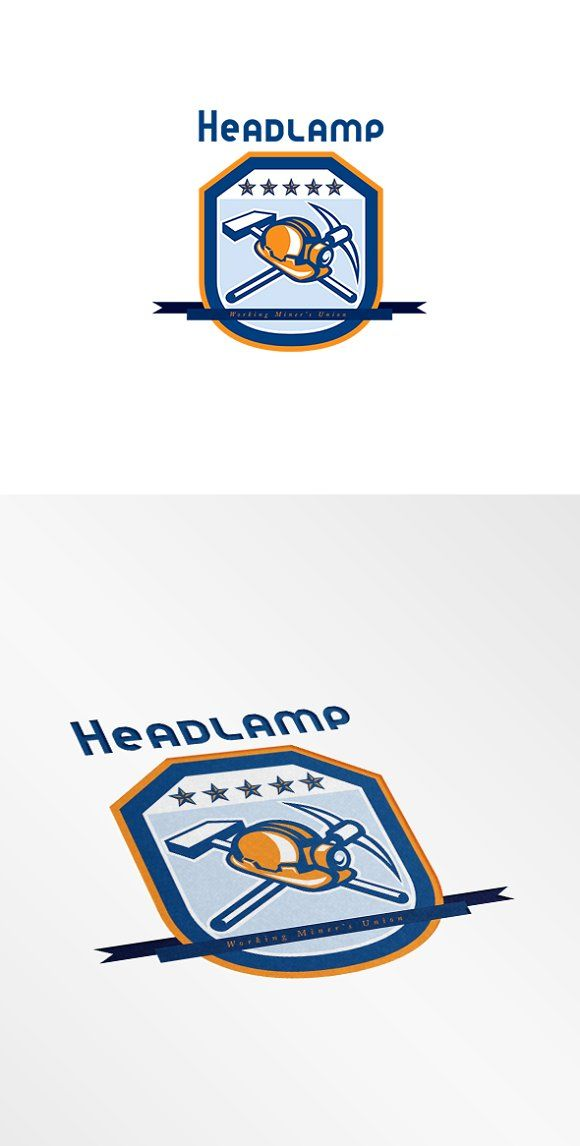 Headlamp Miner Workers Union Logo by patrimonio on @creativemarket