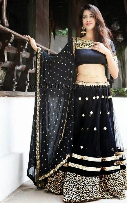 Black with golden diamond work heavy embroidery #lehengacholi comes with net diamond work black dupatta.