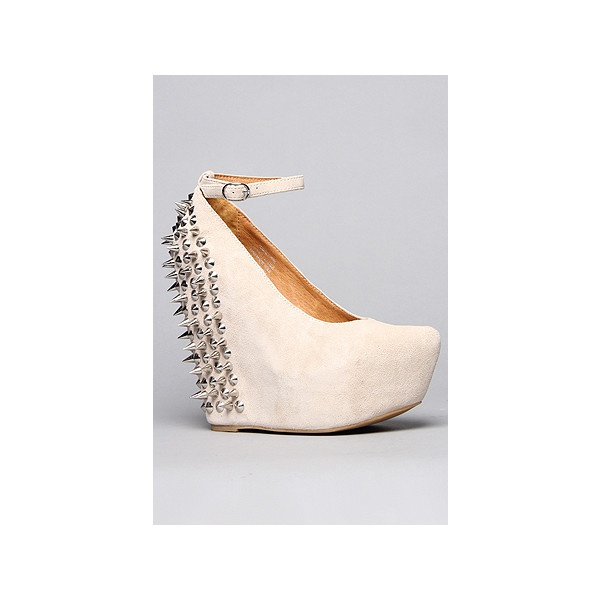 Jeffrey Campbell The Spike Aubrey Shoe in Nude Suede and Silver found on Polyvore: Spikes Aubrey, Aubrey Shoes