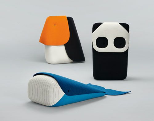 Ionna Vautrin, Zoo Toys for Kvadrat Milan 2012. Tucan, panda & whale. Each fabric toy is the size of a small child.