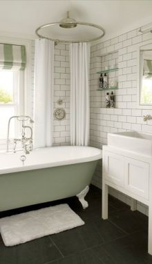 The pale color of the tub is interesting  Adds a coziness to something that is generally elegant