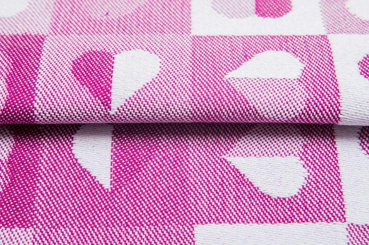 Heartbeat Ruby #weavingstudio #fabricart #cottonfabric #heartbeat #grey #ruby #pink