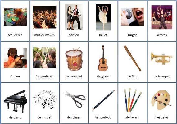 Grote themakaarten voor het thema kunst, we hebben voor vele thema's grote en kleine themakaarten op de website van Juf Milou.