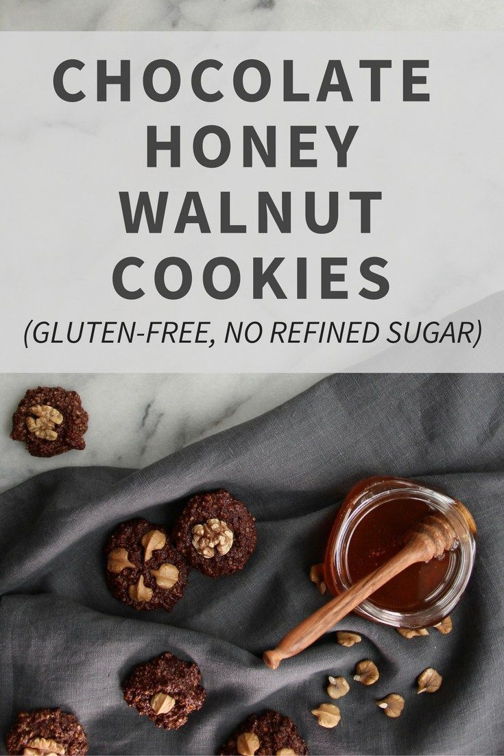 Recipe for Gluten-Free Chocolate Honey Walnut Cookies. No flour or refined sugar (sweetened with honey)!