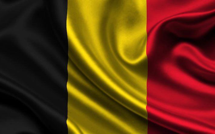 Belgian flag, 4k, silk, flag of Belgium, flags, Belgium flag