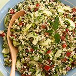 Combine bulgur and water in a large heatproof bowl; cover tightly with plastic wrap and let stand until water is