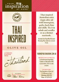 Thai inspired Australian Extra Virgin Olive Oil with the fresh flavours of Lemongrass, garlic, basil, lime and chilli. So simple, just toss in salad and Asian noodles. chicken, beef, fish and prawns. $19.95 250ml To purchase: http://www.alybrown.yourinspirationathome.com.au/shop-oils-vinegars.php