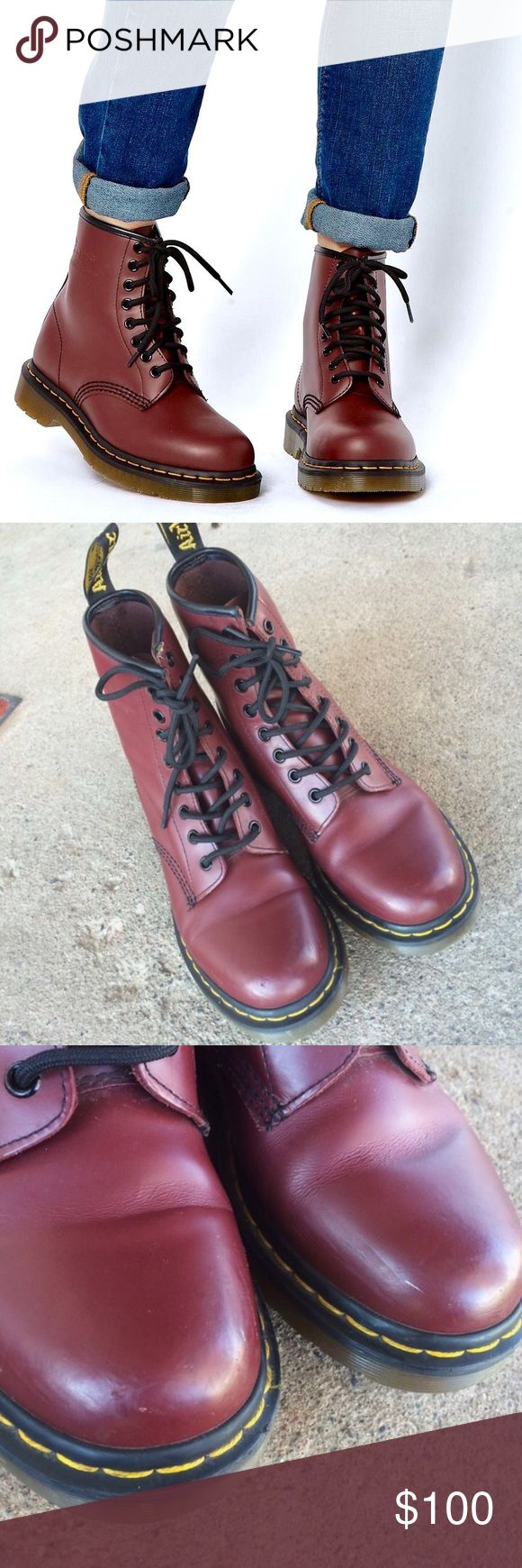Doc Martens 8-eye 1460 Boots Cherry/burgundy color in the iconic 1460 style. Seriously awesome condition, a couple very minor scuffs. Size 8 US Ladies /6 UK Ladies 💥ALL ITEMS ARE DESCRIBED AS ACCURATELY AS POSSIBLE & ALL SALES ARE FINAL. PLEASE ASK ALL QUESTIONS PRIOR TO PURCHASE, I WILL NOT BE HELD RESPONSIBLE FOR LOST OR DAMAGED PARCELS OR BUYERS DISSATISFACTION💥 Dr. Martens Shoes Combat & Moto Boots