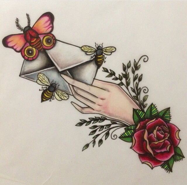 Traditional love letter tattoo design with butterfly