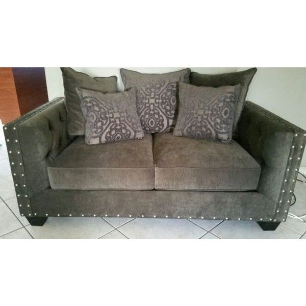 Best 2 Piece Cindy Crawford S Gray Chenille Sofa And Love Seat 400 x 300
