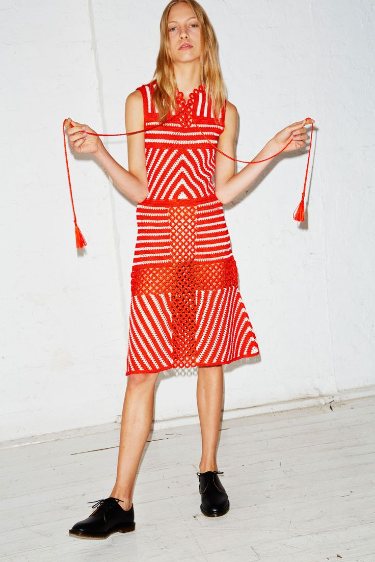 Love the stripes, could have done without the inset rings in the skirt (and the shoes). Orley Spring 2016 RTW