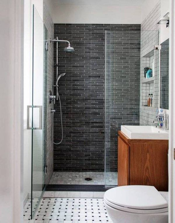 Bathroom: Comely Small White Bathroom Idea With Glass Shower Door Plus Black Stoned Wall Tile Accent Decor: Awesome Ideas for Small Bathroom Design