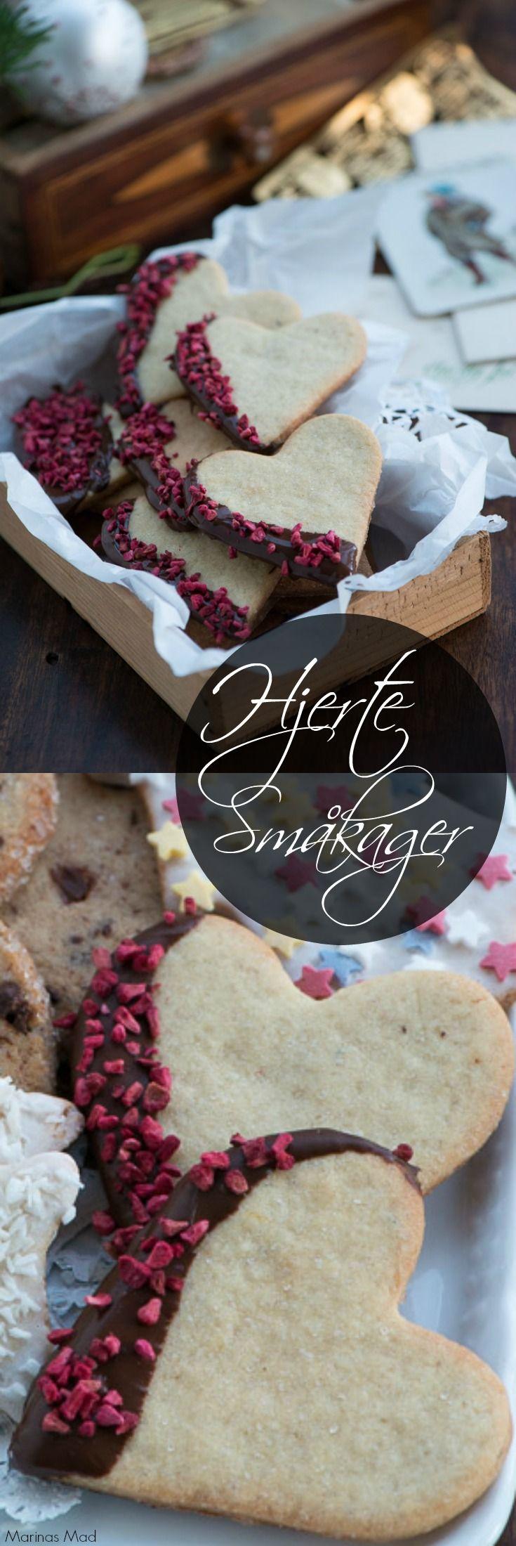 Smukke småkage hjerter. Smager dejligt og er nemme at bage. Opskrift fra Marinas Mad der også foreslår andre småkager af den samme nemme småkagedej.