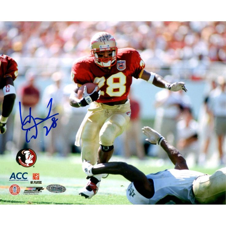 Warrick Dunn FSU vs Notre Dame 8x10 Photo - Warrick Dunn was one of the best running backs ever to play for Florida State University. Dunn is the only Seminole to rush for over 1000 yards in three consecutive seasons. Since 2002 Warrick Dunn has been the running back for the Atlanta Falcons. This great 8x10 photograph of Dunn playing with the Seminoles has been hand signed by Warrick Dunn. A Steiner Sports Certificate of Authenticity is included. Gifts > Licensed Gifts > Ncaa > All Colleges…