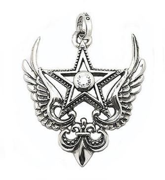 Magestique winged star with cubic zirconia. 925 sterling silver.