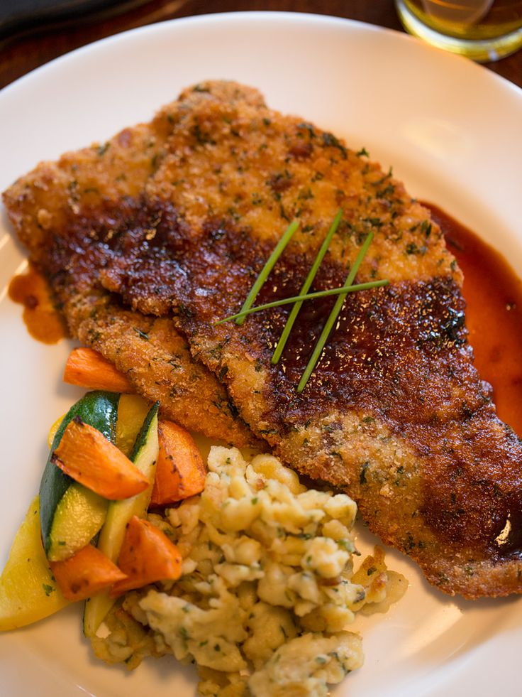 Celebrate #Oktoberfest with Glenmorgan's Wiener Schnitzel with spaetzle, vegetables, and brown sauce.