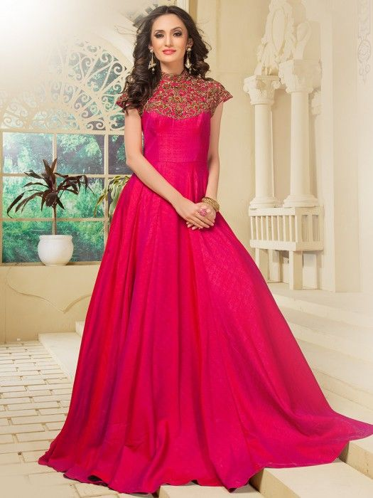 a5cf480f27 Silk indian gown, indian wedding gown, magenta gown, sangeet gown,  bridesmaids gown, bridal gown,