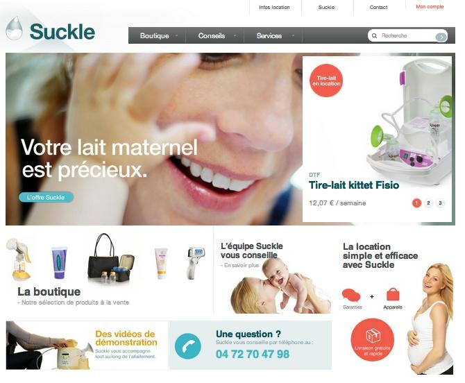 Suckle, service de location de tire-lait de grandes marques et de vente en ligne de produits d'allaitement, maternité et puériculture