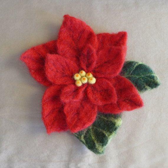 Needle felted brooch Poinsettia by FunFeltByWinnie on Etsy, $38.00