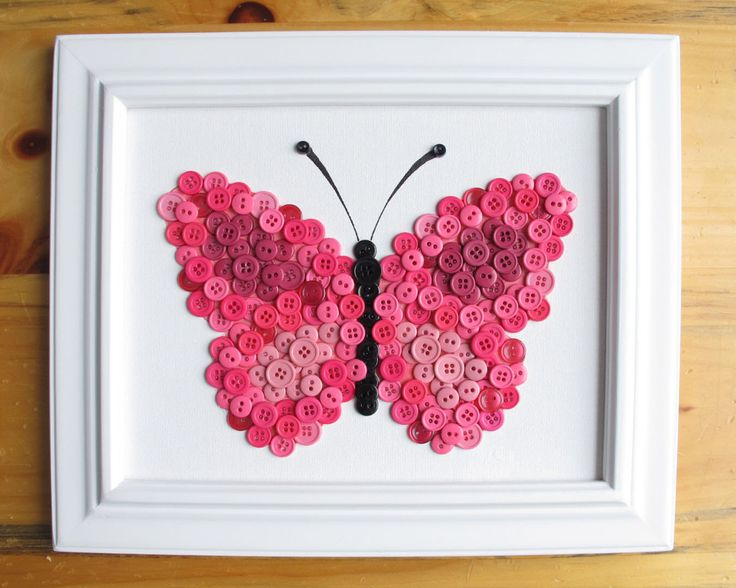 Button Art, Animal, Butterfly, Pink, Canvas Panel, 8x10 by HydeParkHome on Etsy https://www.etsy.com/listing/124497095/button-art-animal-butterfly-pink-canvas
