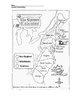 Map of the 13 colonies; label by New England, Mid-Atlantic