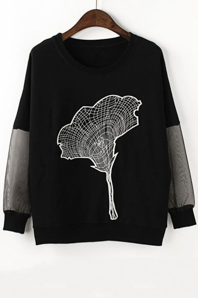 Petunia Embroidered Sweatshirt - OASAP.com