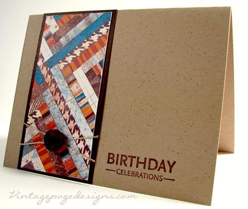 Herringbone Birthday Card - Vintage Page Designs #fall #birthdaycard