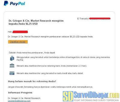 Bukti pembayaran situs paid survey Mobrog melalui PayPal | SurveiDibayar.com