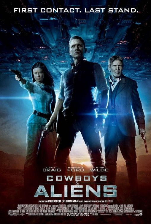 Cowboys and Aliens. Alternative history. Extraterrestrial battles. A movie for the sci-fi geek in all of us. We own two copies; check one out!: Daniel Craig, Film, Movie Posters, Harrison Ford, Cowboys, Favorite Movies, Movies I Ve, Olivia Wilde
