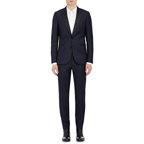 Paul Smith Men's Soho Two-Button Suit ($1,695) ❤ liked on Polyvore featuring men's fashion, men's clothing, men's suits, navy, mens shiny suits, mens navy suit, mens navy blue suit, mens suits and mens tailored suits