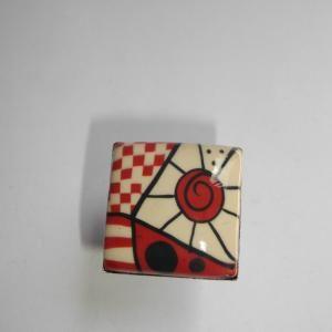 Anello quadrato (bordeaux e beige) - Vendita online di gioielli Fimo