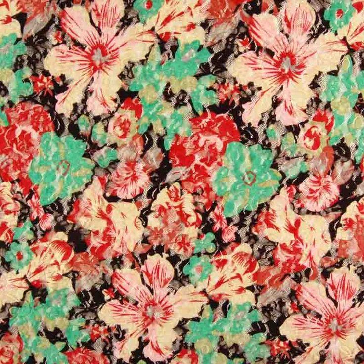 Flower Print Spandex Lace Fabric Multi 137cm - Lace - Dressmaking Fabrics - Fabric