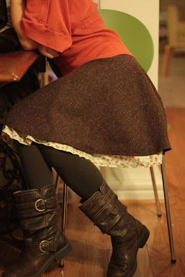Wool skirt with silk lining that hangs lower then wool. Cute and warm Winter skirt.