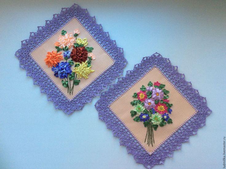 """Купить Вышивка лентами """"Маргаритки"""" и """"Хризантемы"""" - Вышивка лентами, вышивка цветами, подарок девушке"""