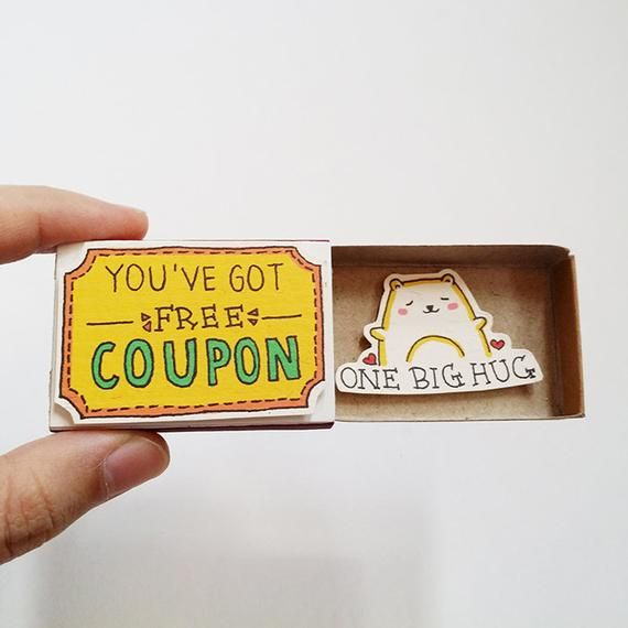 """Spaß-Ermutigungs-Karten-Streichholzschachtel – niedliche Katzen-Gruß-Karte – Geschenkbox – """"Sie haben freien Kupon"""" – """"eine große Umarmung"""" – OT112"""