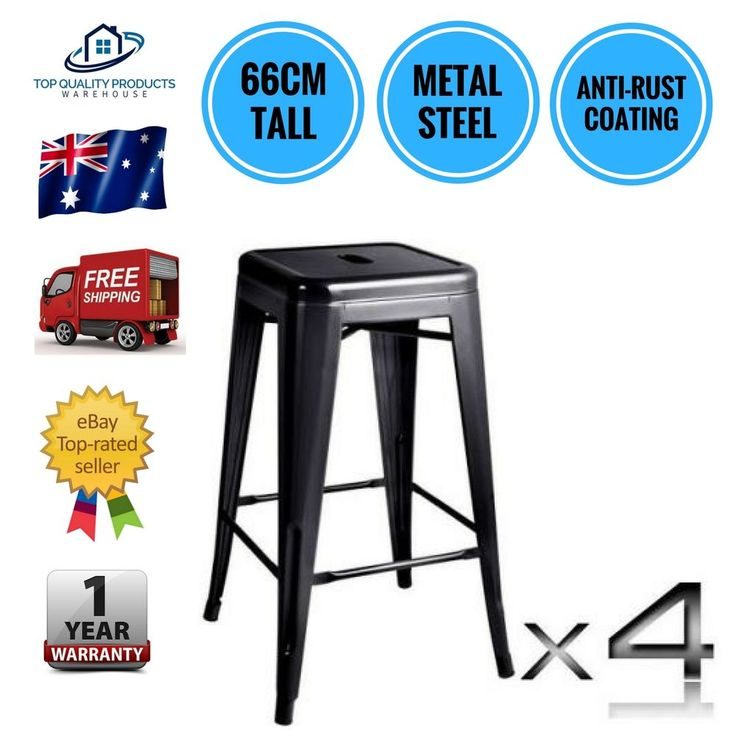 4x Replica Tolix Kitchen Cafe Bar Stool Metal Steel Chair 66cm High Black New