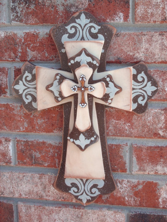 Chocolate And Ivory Stacked Cross Home