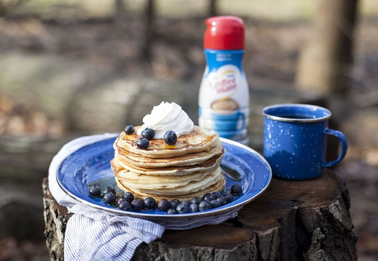 COFFEE-MATE Camping Pancakes Turn your camping trip to glamping with this easy-to-use COFFEE-MATE hack.