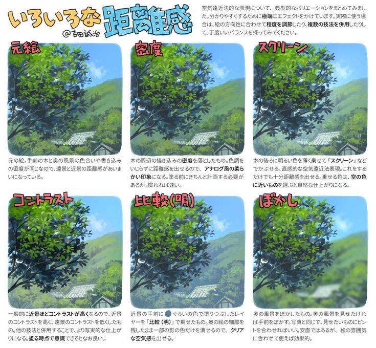 """吉田誠治/ティアち01aさんはTwitterを使っています: """"補足、距離感の出し方いろいろ。パターンを知ったうえで、絵の雰囲気に合うものを選びましょう。 https://t.co/bMa7qV8GRq"""""""