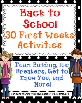 30 Beginning of the Year Activities, Team Building, Ice Breakers, Get to Know you- including art, vocab, writing, and more!