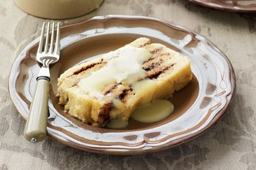 Here's a nutty version of the winter classic, topped with luscious white chocolate sauce.