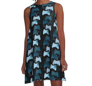 PS3 Gaming Blue A-Line Dress by emilypigou  #summerclothing…