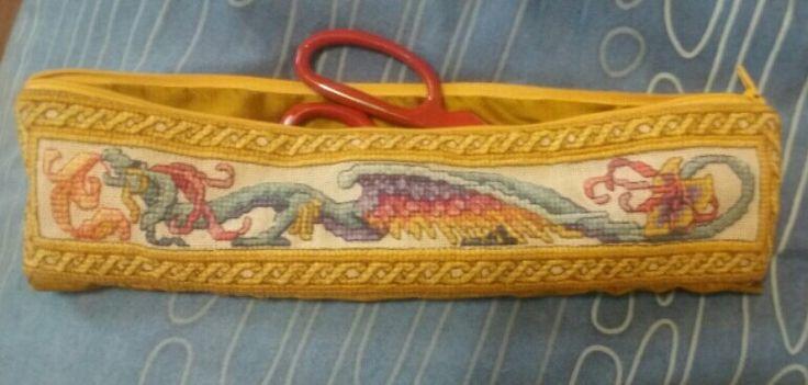 Turned stretch the dragon design by teresa wentzler into a scissor case.