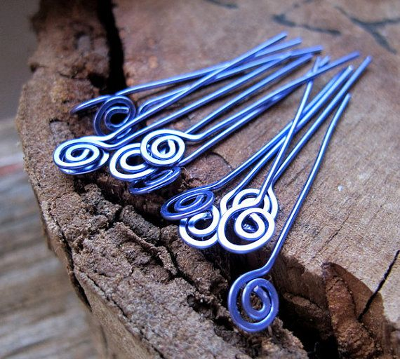 22 gauge Spirla Hammered Headpins. Purple Swirl Head Pins. Enameled Copper Jewelry Findings