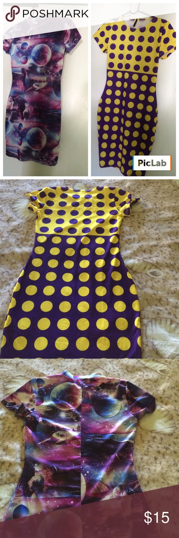 """BUNDLE EUC dresses Two great dresses to add to wardrobe!!!...both short sleeves...Purple/Blue planet dress:  collar...92% polyester/8 % elastane...33"""" in length....Yellow/Purple polka dots dress:  96% polyester/4% spandex...38"""" long...BOTH NEVER WORN. Goodtime Dresses"""
