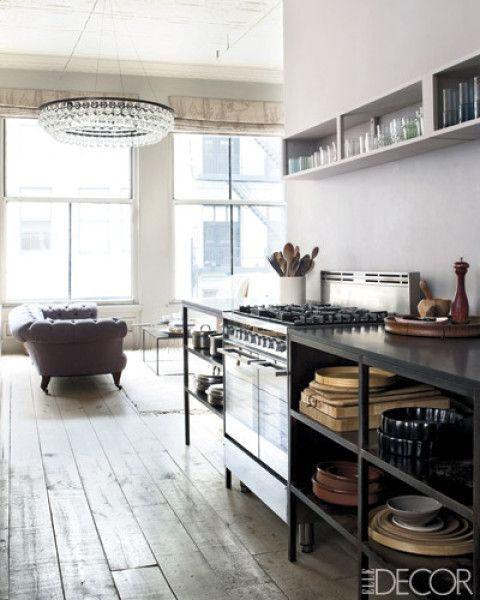 love love love - chesterfield, chandelier, open shelving, floors... Elle Decor via Laura Casey Interiors, LLC.