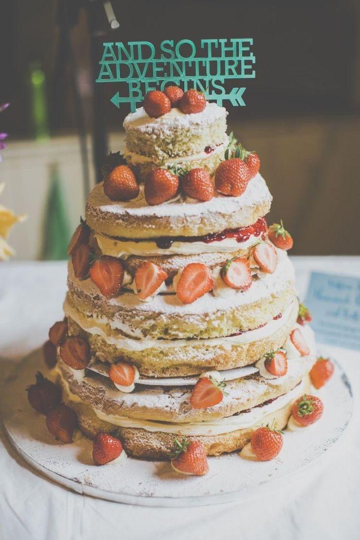 Naked Cake Sponge Layer Topper Words Fruit Bright Fun Multicoloured Wool Pom Pom Crafty Wedding http://meliamelia.com/