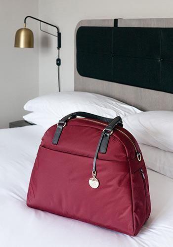 3dc564cecf0 On Bed View - The O.G. and O.M.G. - Nylon - Burgundy   Gold   Camel -  Shoulder Bag - Lo   Sons