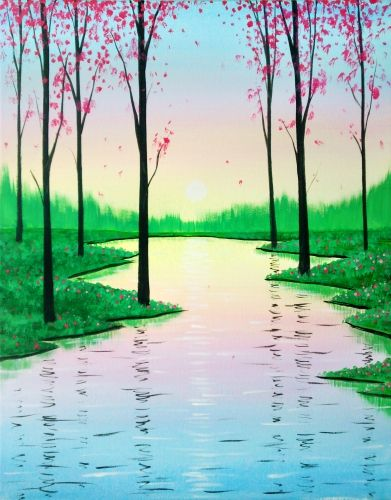 Beginner canvas painting idea, Trees and winding river. Search our event calendar and find a Paint Nite       event near Winter Park, FL